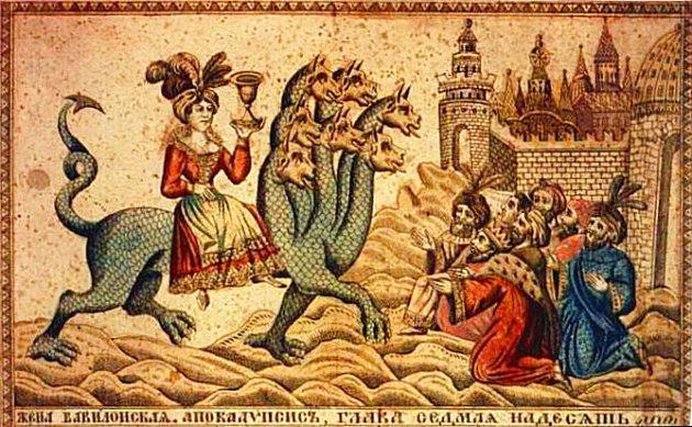 La ramera de Babilonia cabalgando sobre la bestia de siete cabezas ( grabado ruso del siglo XIX )