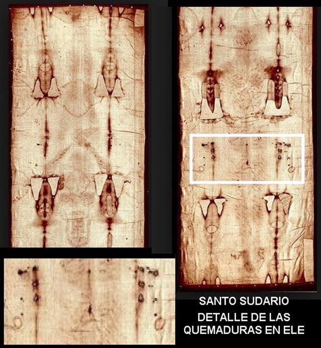 Santo Sudario: detalle de quemaduras
