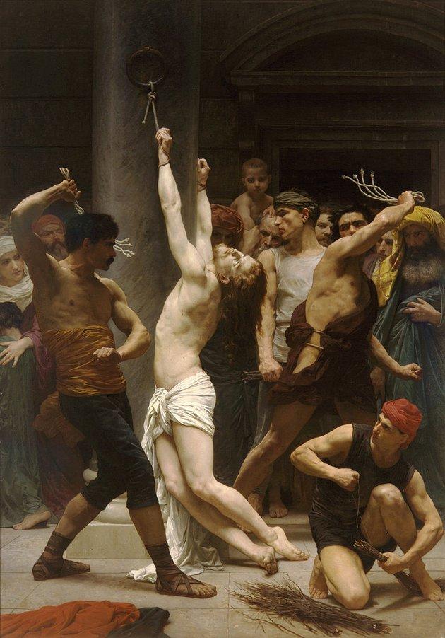Flagelación de Jesús de Nazaret. Pintura realizada por el artista William-Adolphe Bouguereau (1825-1905)