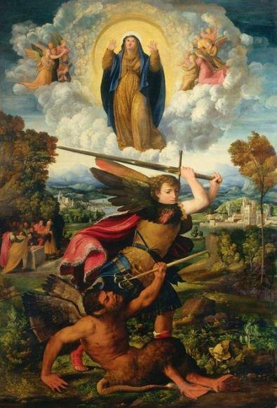 La Asunción de la Virgen con San Miguel Arcangel que vence al diablo