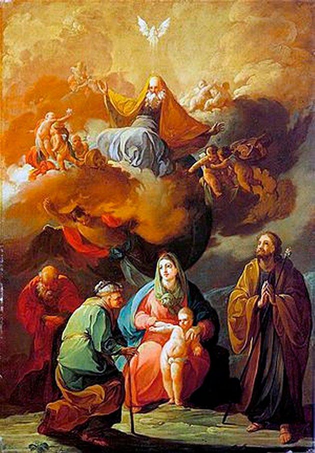 Sagrada Familia con San Joaquín y Santa Ana ante el Eterno en gloria Goya