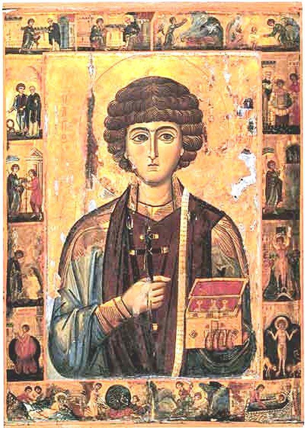 San Pantaleón en un icono del siglo XIII - Monasterio de Santa Catalina - Monte Sinaí, Egipto.