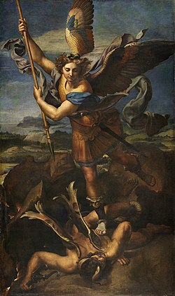 San Miguel derrota a satanas - Oleo de Rafael